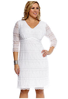 Chris McLaughlin Plus Size Three-Quarter Sleeved Lace Shift Dress