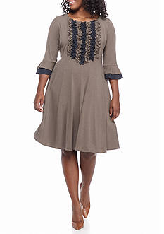 Chris McLaughlin Plus Size Ruffle Front Trapeze Dress