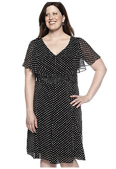 Rabbit Rabbit Rabbit Plus Size Polka Dot Smock Waist Dress