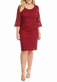 Chris McLaughlin Plus Size Bell-Sleeve Lace Sheath Dress