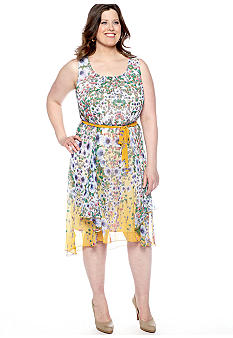 Plus Size Sleeveless Print Dress