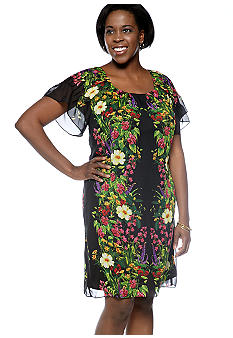 Chris McLaughlin Plus Size Flutter-Sleeved Printed Shift Dress