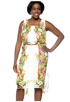 Chris McLaughlin Plus Size Printed Blouson Belted Dress