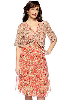 Chris McLaughlin Plus Size Printed Dress and Shrug Set
