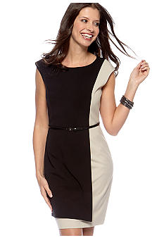 Calvin Klein Colorblock Belted Sheath