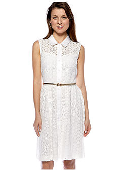 Calvin Klein Sleeveless Button Front Belted Dress
