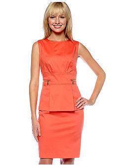 Calvin Klein Sleeveless Peplum Sheath Dress