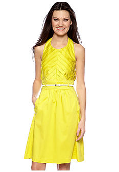 Calvin Klein Pleated Top Halter Dress