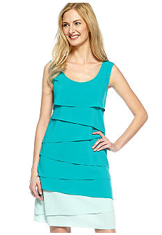 Calvin Klein Sleeveless Tiered Colorblock Dress
