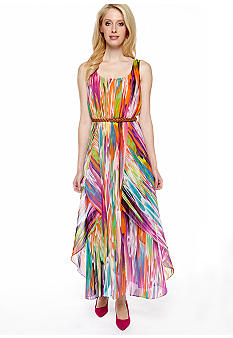 Calvin Klein Sleeveless Printed Maxi Dress with Braided Belt