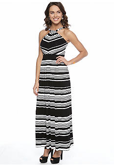 Calvin Klein Halter Stripe Maxi Dress