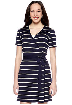Calvin Klein Short-Sleeved Stripe Wrap Dress