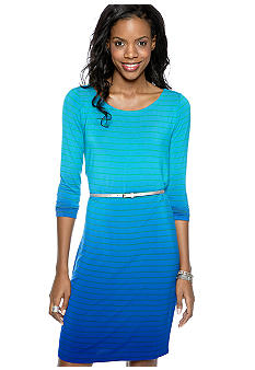 Calvin Klein Long-Sleeved Stripe Belted Dress