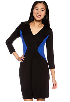Calvin Klein Long-Sleeved Crossover V-Neck Color Block Dress