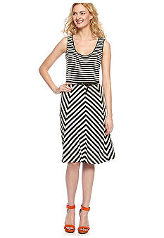 Calvin Klein Sleeveless Stripe Belted Tank Dress