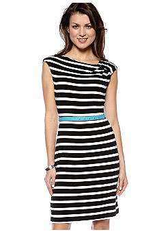 Calvin Klein Sleeveless Stripe Belted Shift Dress