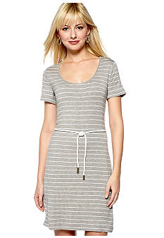 Calvin Klein Short-Sleeved Stripe Belted Shift Dress