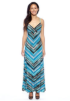 Calvin Klein Spaghetti Strap Striped Maxi Dress
