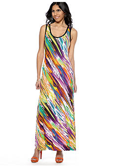 Calvin Klein Sleeveless Watercolor Printed Tank Maxi Dress