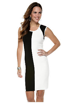 Calvin Klein Cap-Sleeved Color Block Sheath Sweater Dress