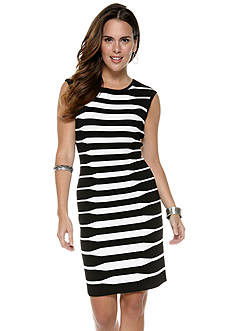 Calvin Klein Cap Sleeve Striped Sheath Sweater Dress