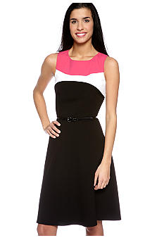 Calvin Klein Sleeveless Color Block Belted Dress