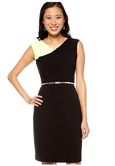 Calvin Klein Sleeveless Colorblock Belted Sheath Dress