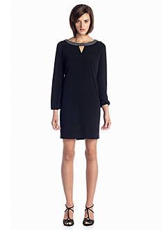 Calvin Klein Shift Dress with Bead Embellished Neckline