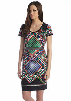 Calvin Klein Cap Sleeve Printed Aline Dress