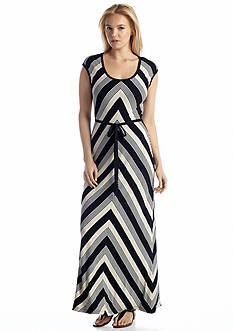 Calvin Klein Cap Sleeve Striped Belted Maxi Dress