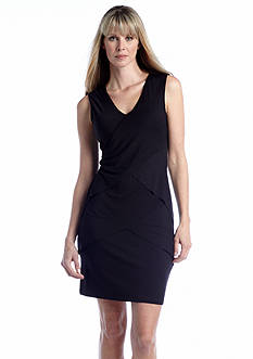 Calvin Klein Cap-Sleeve Tiered Sheath Dress