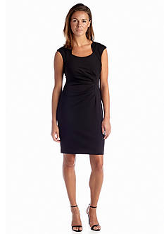 Calvin Klein Cap-Sleeve Ponte Sheath Dress