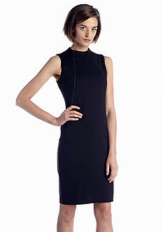 Calvin Klein Mock-neck Ponte Sheath Dress