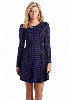 Calvin Klein Printed Fit and Flare Sweaterdress