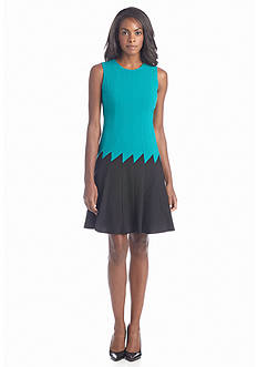 Calvin Klein Color-block Fit-and-Flare Dress