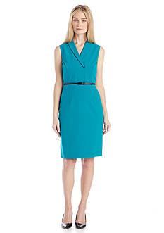 Calvin Klein Sleeveless Belted Sheath Dress