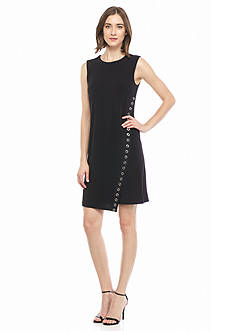 Calvin Klein Faux Wrap Dress with Grommet Trim