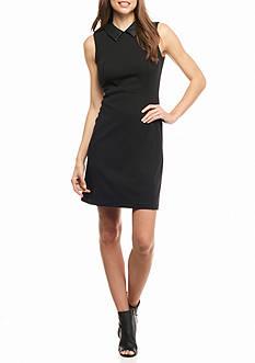 Calvin Klein Faux Leather Collar Sheath Dress