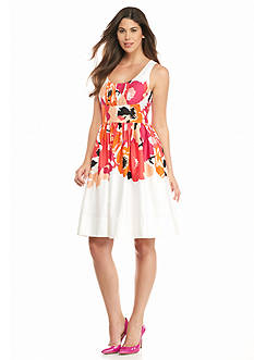 Calvin Klein Printed Fit and Flare Dress