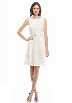 Calvin Klein Fit and Flare Belted Dress