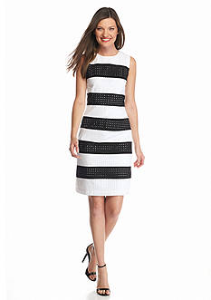 Calvin Klein Eyelet Stripe Sheath Dress