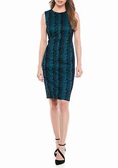 Calvin Klein Printed Jacquard Sheath Dress