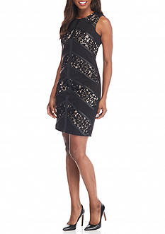 Calvin Klein Lace and Faux Leather Panel Sheath Dress