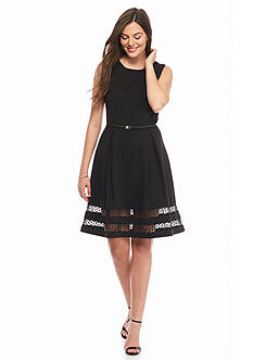 Calvin Klein Belted Fit and Flare Dress
