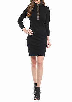 Calvin Klein Zip Front Sweater Dress