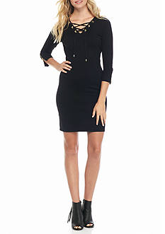 Calvin Klein Lace-Up Front Sweater Dress