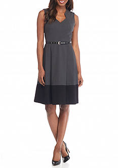 Calvin Klein Colorblock Fit and Flare Belted Dress