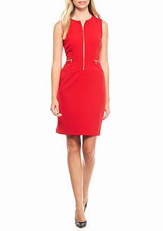 Calvin Klein Zip Front Sheath Dress