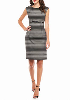 Calvin Klein Belted Stripe Sheath Dress
