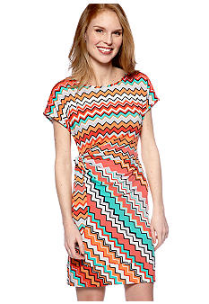 New Directions Printed Side Tie Dress